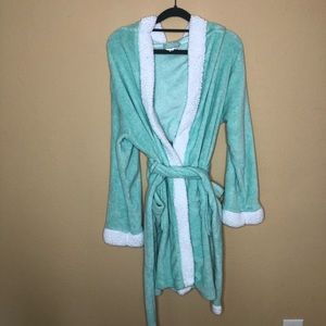 Mint Green and White Soft Spa Robe S/M